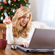 Christmas: Woman Shopping Online With Credit Card — ストック写真