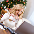 Christmas: Woman Tearing Up Bank Check — Stockfoto