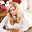 Christmas: Woman Writing Christmas Cards — Stockfoto