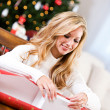 Christmas: Woman Wrapping Gift Box — Stock Photo