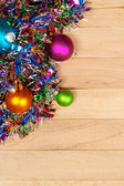 Christmas: Garland and Ornament Background — Stock Photo