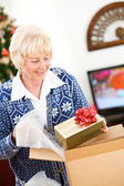 Christmas: Woman Ready To Ship Holiday Gifts — Foto de Stock