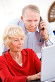 Seniors: Couple On Phone With Tech Support — Stock Photo