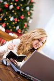 Christmas: Taking Notes On Online Gift — Stock Photo
