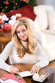 Christmas: Woman Writing Christmas Cards — Stock Photo