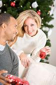 Christmas: Man Helping Woman Decorate Christmas Tree — Stock Photo