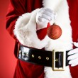 Santa: Holding A Christmas Ornament — Stockfoto