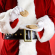 Santa: Holding Plate Of Cookies — Stockfoto