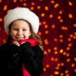 Christmas: Cute Holiday Girl With Big Smile — Stockfoto
