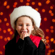 Christmas: Giggling Christmas Holiday Girl — Stockfoto