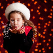 Christmas: Blowing Handful of Snow — Stockfoto