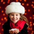 Christmas: Winter Girl Holding Handful of Snow — Stockfoto