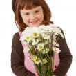 Balloons: Little Girl with Daisy Bouquet — Stockfoto