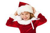 Christmas: Laughing Little Santa Girl — Stock Photo