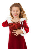 Christmas: Excited Santa Girl With Special Box — Stock Photo