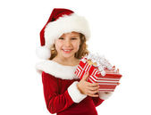Christmas: Cute Christmas Girl With Present — Stock Photo
