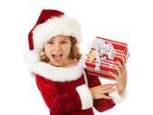 Christmas: Santa Girl Excited For Christmas — Stock Photo