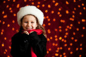 Christmas: Cute Holiday Girl With Big Smile — Stock fotografie