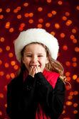 Christmas: Giggling Christmas Holiday Girl — Stock Photo