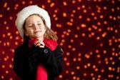 Christmas: Winter Girl With Holiday Wish — Stock Photo