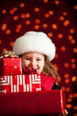 Christmas: Carrying A Big Stack Of Christmas Gifts — Stock Photo