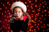 Christmas: Blowing Handful of Snow — Stock Photo