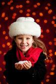 Christmas: Winter Girl Holding Handful of Snow — Stock Photo