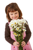 Balloons: Little Girl with Daisy Bouquet — Stock Photo