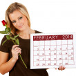 2014 Calendar: Holding a February Valentine Rose — Stock Photo