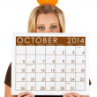 Stock Photo: 2014 Calendar: WomReady For Fall October Season