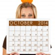 2014 Calendar: Woman Ready For Fall October Season — Stock Photo
