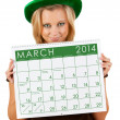 Stock Photo: 2014 Calendar: Girl Ready For March St. Patrick's Day
