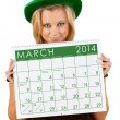 2014 Calendar: Girl Ready For March St. Patrick's Day — Stock Photo #37238243