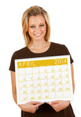 2014 kalender: håller tom april kalender — Stockfoto
