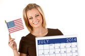 2014 Calendar: Ready For July 4th Holiday — Stock Photo