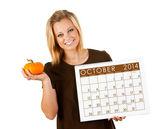 2014 Calendar: Woman Ready For Fall October Season — Stock Photo