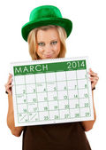 2014 Calendar: Girl Ready For March St. Patrick's Day — Stock Photo