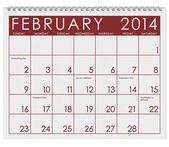 2014 Calendar: February — Stock Photo