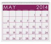 2014 Calendar: May — Stock Photo