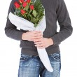 Valentine's: Anonymous Man With Rose Bouquet — 图库照片