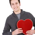 Valentine's: Man Holding Red Velvet Candy Box — Stock Photo