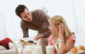 Valentine's: Man Surprises Girlfriend with Dinner — Stock Photo