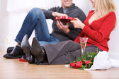 Valentine's: Couple Having Champagne and Candy — Stok fotoğraf