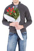 Valentine's: Anonymous Man With Rose Bouquet — Stock Photo