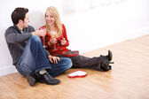 Valentine's: Couple Having Champagne and Candy — Foto de Stock
