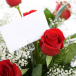Foto Stock: Valentine: Red Rose Bouquet with Card