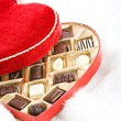 Valentine: Open Candy Box on Fur — Stok Fotoğraf #38028483