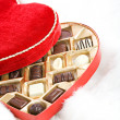 Valentine: Open Candy Box on Fur — Stockfoto #38028483