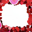 Valentine: Paper Heart Valentine Frame or Border — Stock Photo