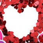 Valentine: Paper Heart Valentine Frame or Border — Stock Photo